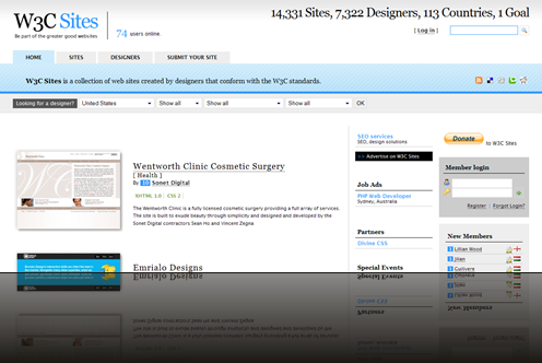 W3C Sites - Web sites created by designers that conform with W3C standards_1238006981986