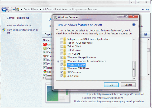 how to get search option in windows 7